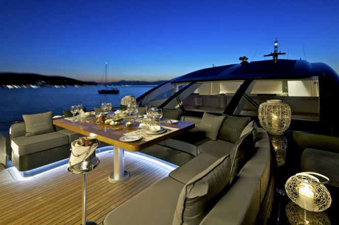 Yacht OPATI -  Foredeck Dining at Night